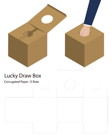 lucky draw box 3d mockup with dieline Illustration