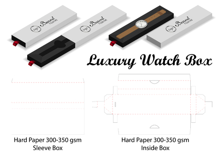 luxury watch sleeve box mockup dieline template