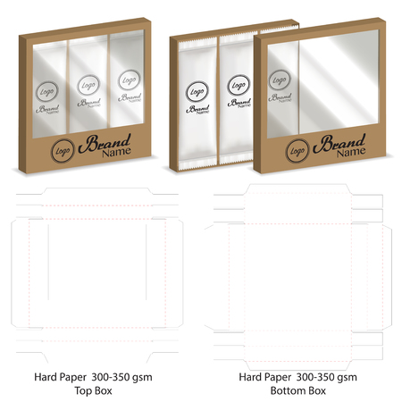 box with plastic window die cut mock up template vector