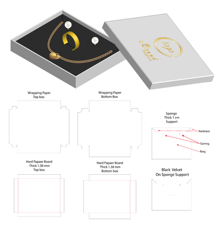 rigid box for necklace ring earring product mockup Illustration