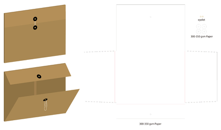 folder die cut mock up template vector Vettoriali