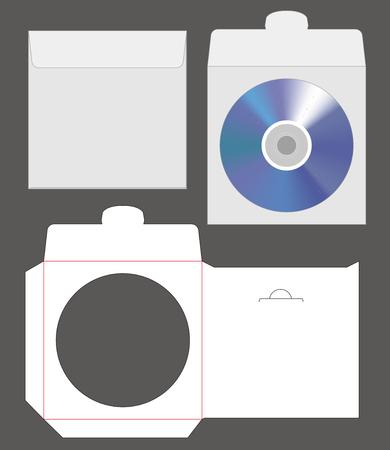 standard disc envelope mockup with dieline cut Illustration