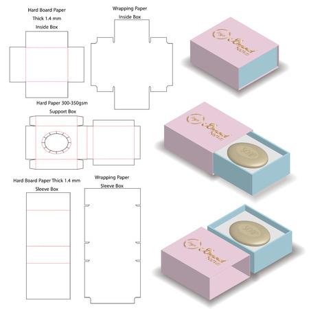 caja rígida de manga para maqueta de jabón con dieline