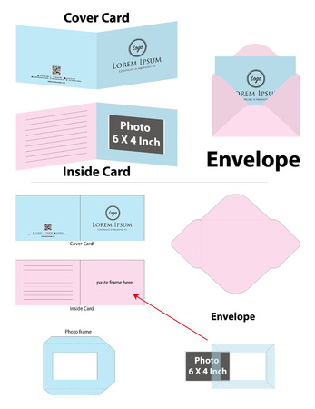 photo frame card with envelope dieline mockup