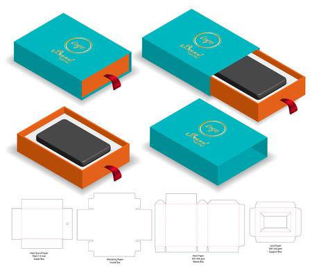 Rigid Sleeve box die cut mock up template vector Illustration