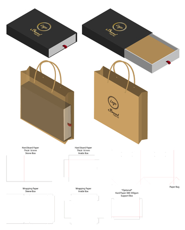 box and paper bag set mockup with dieline