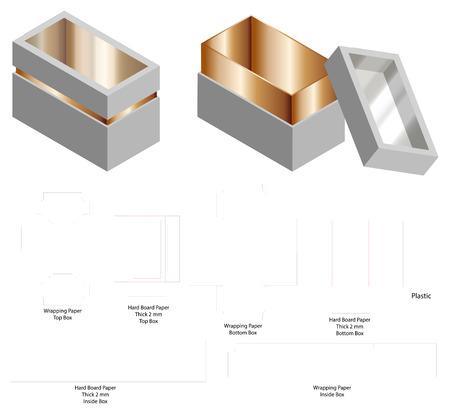 maqueta 3d de caja rígida de papel de tablero duro con dieline