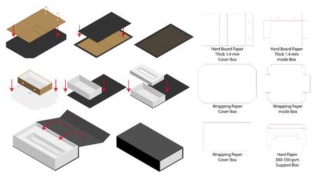 rigid magnet box template 3d mockup with dieline Vektorové ilustrace