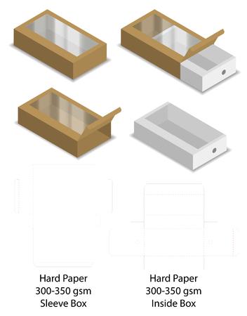 maqueta de caja de funda de diapositiva de papel duro dieline