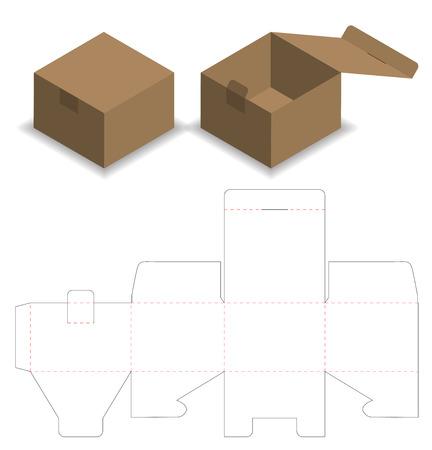 Diseño de plantilla troquelada de embalaje de caja. Maqueta 3d