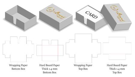 rigid hard paper box for card 3d mockup   dieline