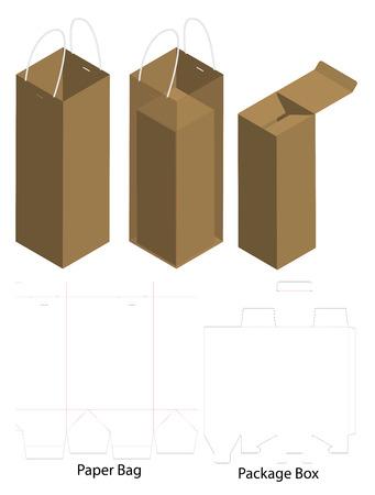 box and bag dieline for bottle package mockup