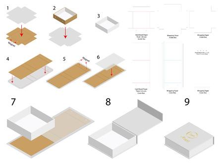 maqueta 3d de plantilla de caja de imán rígido con dieline Ilustración de vector