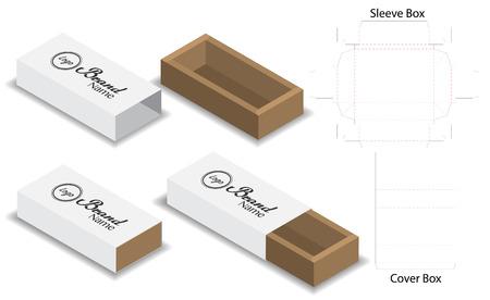 slide box die cut mock up template vector