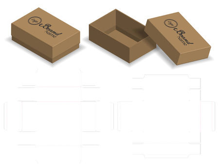 package box die cut with 3d mock up Illustration