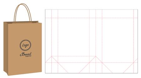 embalaje de bolsas de papel troqueladas y maquetas de bolsas 3d Ilustración de vector