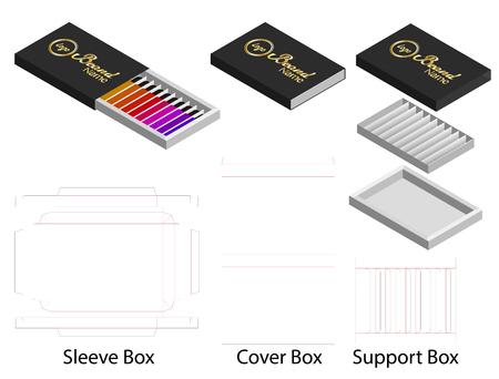 paper box shape for lipsticks package dieline Illustration