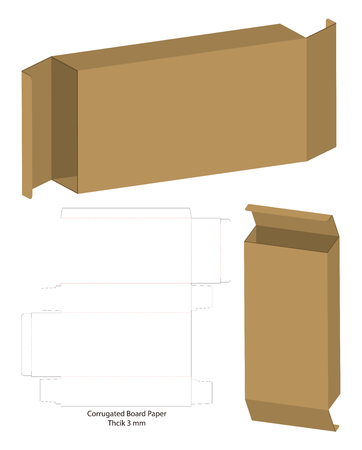 corrugated package box die cut with 3d mock up