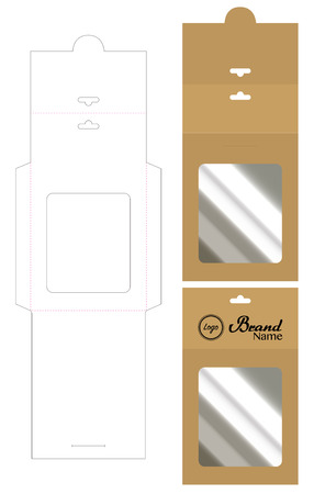 Hang envelope die cut mock up template Vector