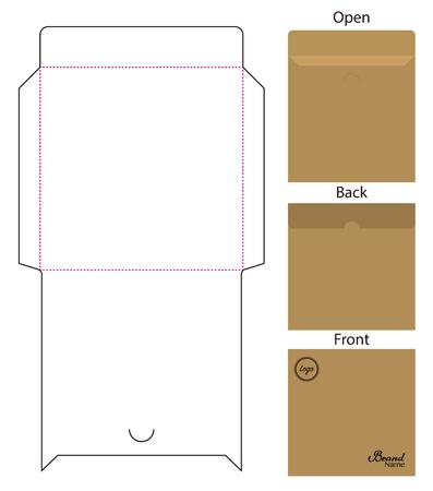 Envelope die cut mock up template Vector Stock Vector - 108890946