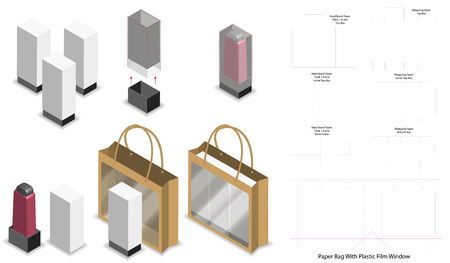 box and paper bag set mockup with dieline Stock Vector - 108890947