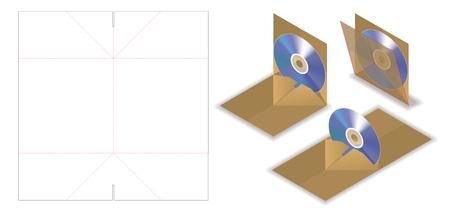 pop up disc envelope mockup with dieline cut Stock Vector - 108890949