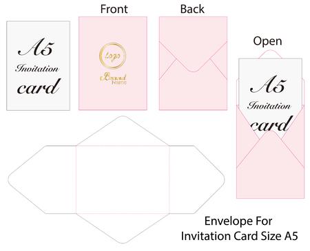 Envelope die cut mock up template Vector Stock Vector - 108890950