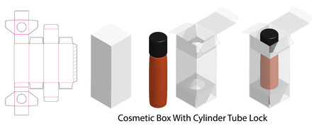 cosmetic box with bottle tube lock dieline