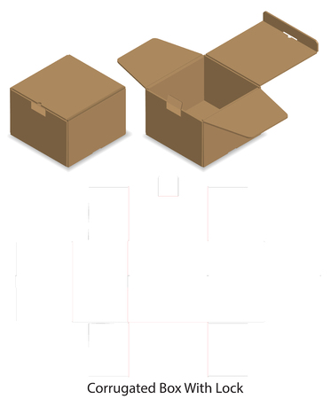 package box die cut with 3d mock up Stock Vector - 108890962