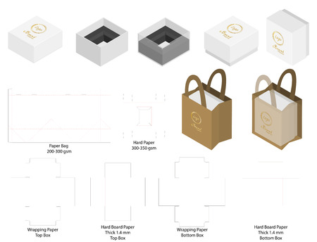 box and paper bag set mockup with dieline Stock Vector - 108890970