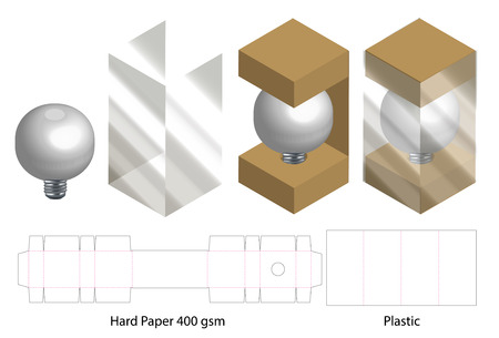 box with plastic window die cut mock up template Stock Vector - 108890972