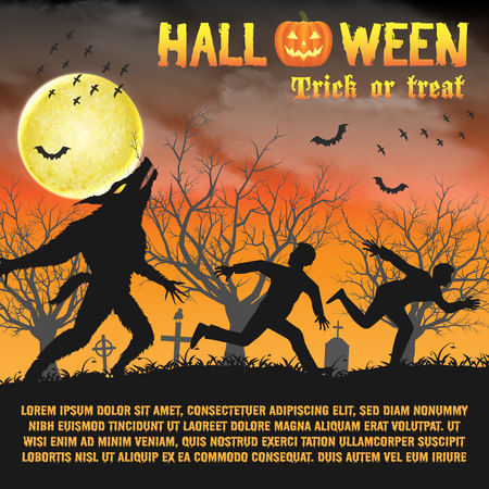 Halloween Silhouette Werwolf in einem Nachtfriedhof