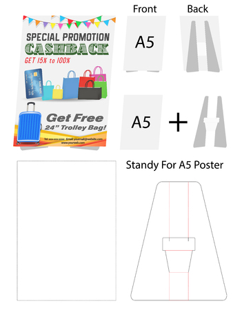 tent card A5 size  mock up die-cut Stock Vector - 108890976