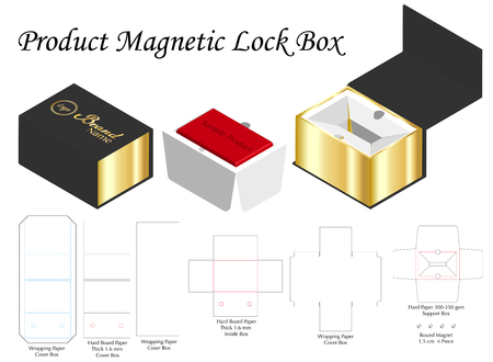 rigid magnet box template 3d mockup with dieline Stock Vector - 108890978