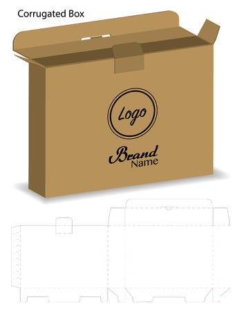 corrugated paper box die cut with 3d mock up Stock Vector - 108890979