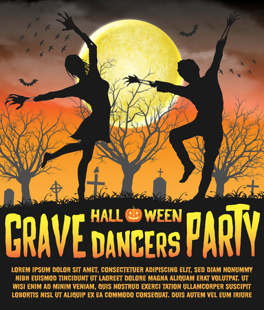 a halloween silhouette grave dancers party poster Stock Vector - 108890980