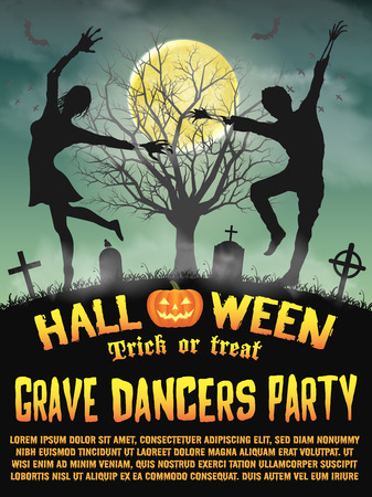 a halloween silhouette grave dancers party poster Illustration