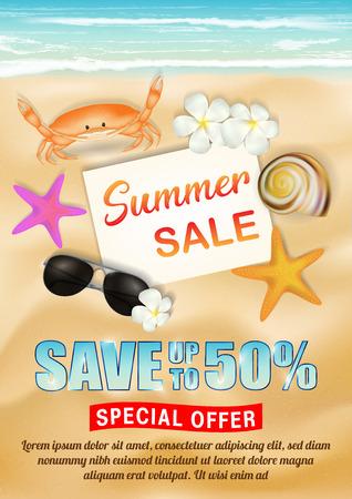 sea sand beach summer sale poster vector