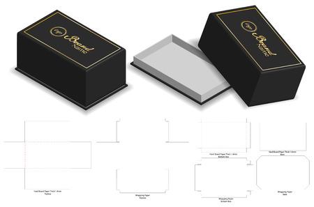 hard board paper rigid box 3d mockup with dieline Stock Vector - 108890989