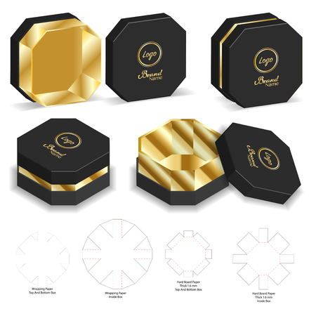 hard board paper rigid box 3d mockup with dieline Stock Vector - 108890991