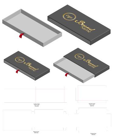 Rigid Sleeve box die cut mock up template vector Stock Vector - 108891000