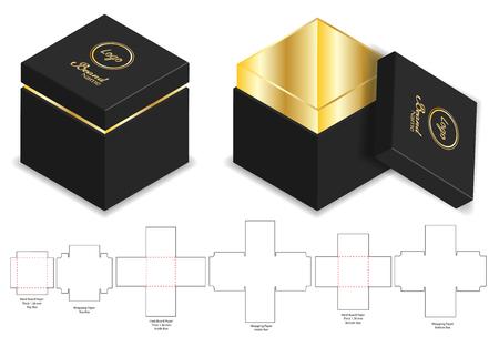 mockup 3d di scatola rigida di carta rigida con fustella