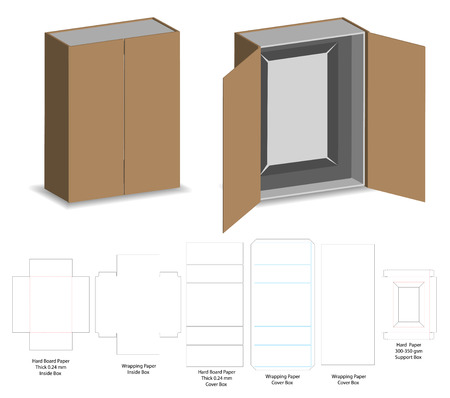 hard board paper rigid box 3d mockup with dieline