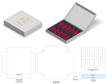 Hartkarton Papier starre Box 3d Modell mit Dieline