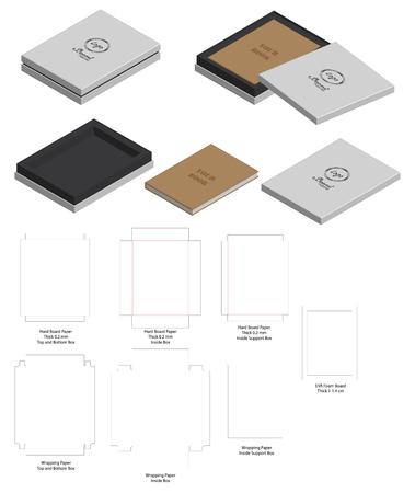 hard board paper rigid box 3d mockup with dieline Vector Illustration