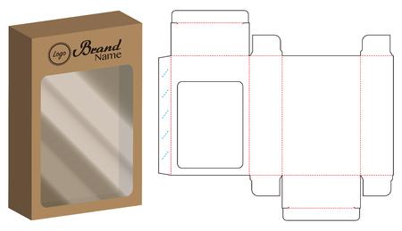 dvd paper packaging box die-cut line template Illustration
