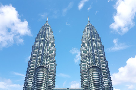 MALAYSIA, KUALA LUMPUR - 16 October   2018. The Petronas Twin Towers on sky background. Tallest buildings in the world until 2004 Editorial