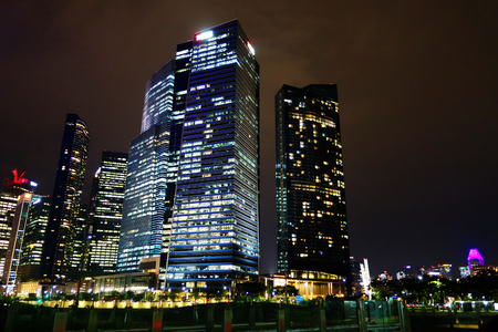 Singapore Financial District skyline at night Editorial