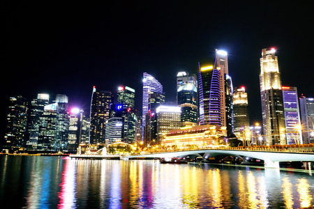 Singapore night view from Esplanade bridge Editorial