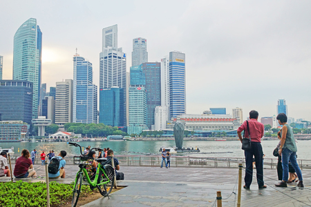 Singapore - 14 October 2018 : Front Of Shoppes at Marina Bay Sands is a famous shopping center of Singapore travel destination.